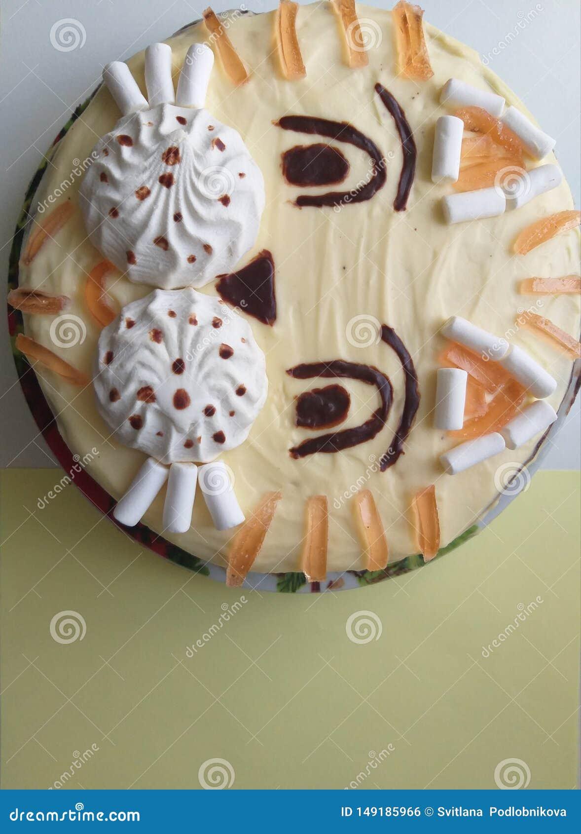 Torta en el chocolate del tigre de la forma para los niños