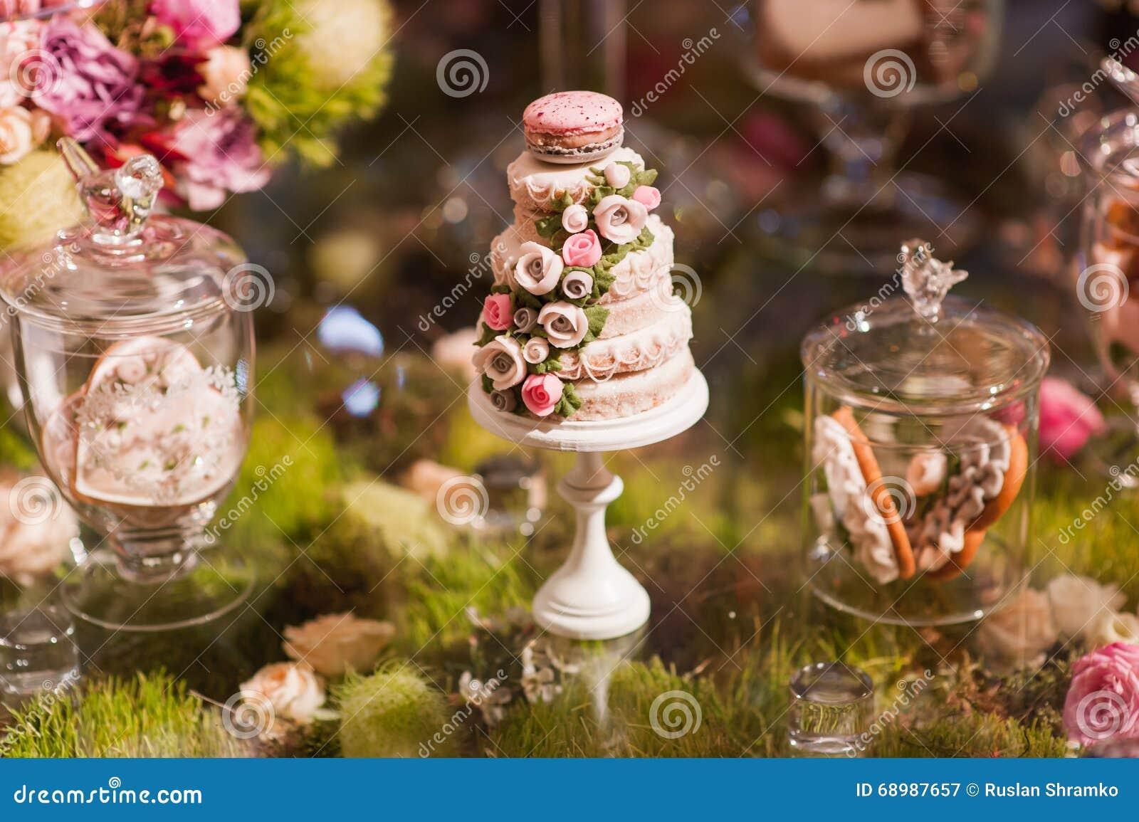 Torta francesa respetuosa del medio ambiente de los makarons en la tabla
