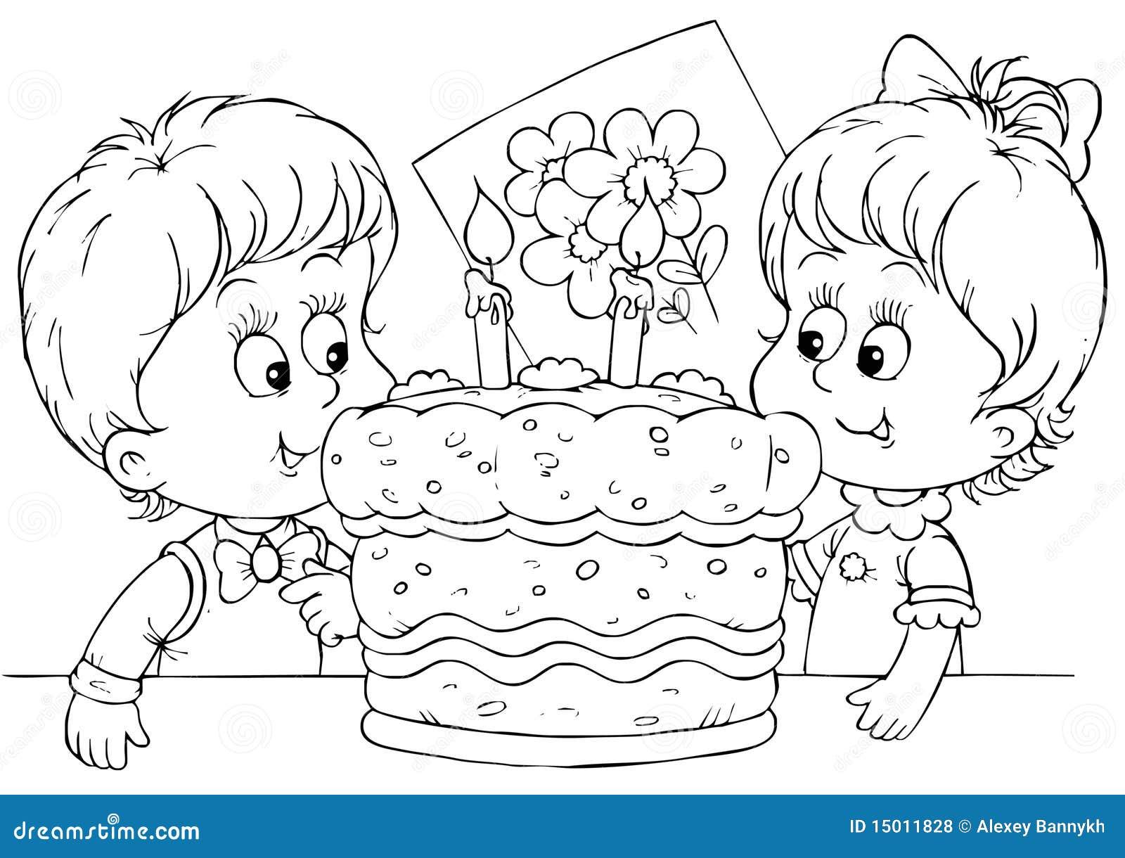 Torta para un cumpleaños stock de ilustración. Ilustración de ...