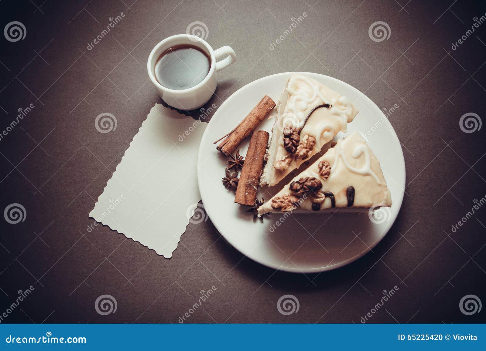Torta y café de la vainilla