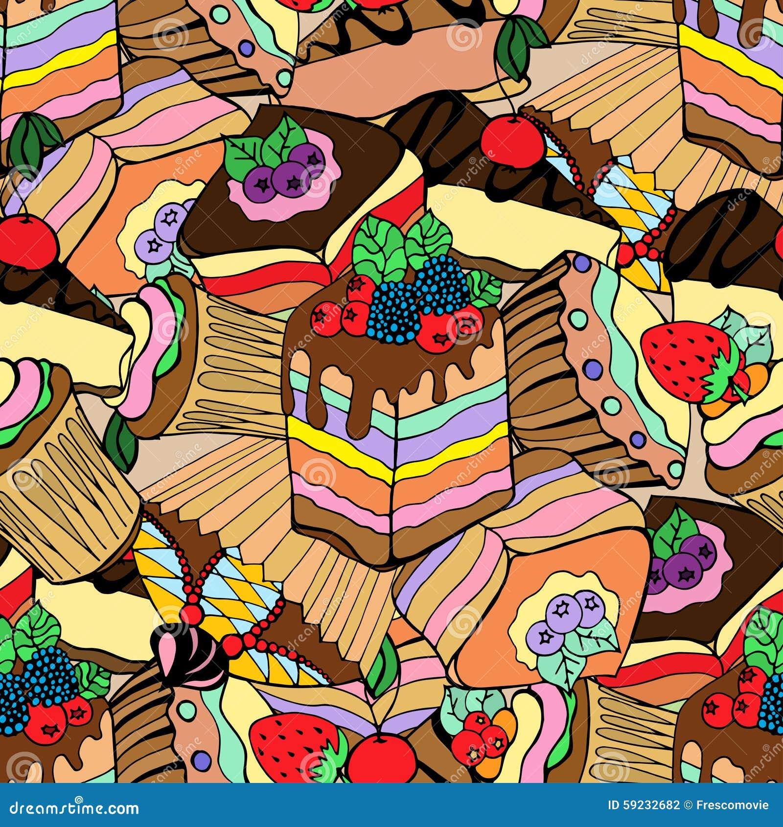 Download Tortas y postres ilustración del vector. Ilustración de mollete - 59232682