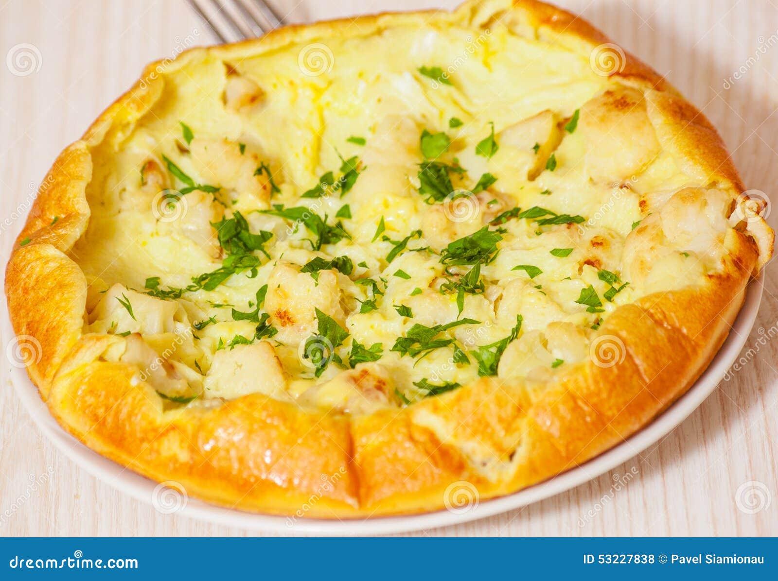 Tortilla con queso y la coliflor