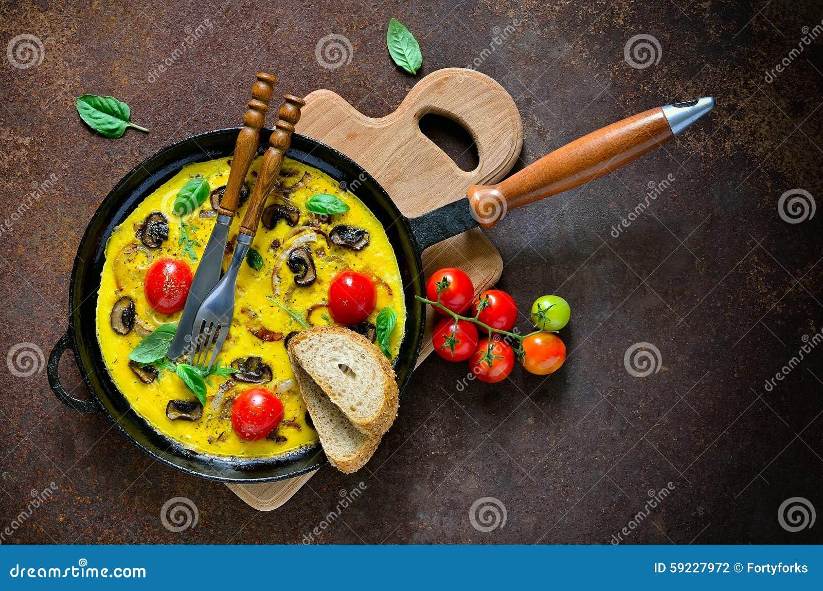 Tortilla de huevos con las setas