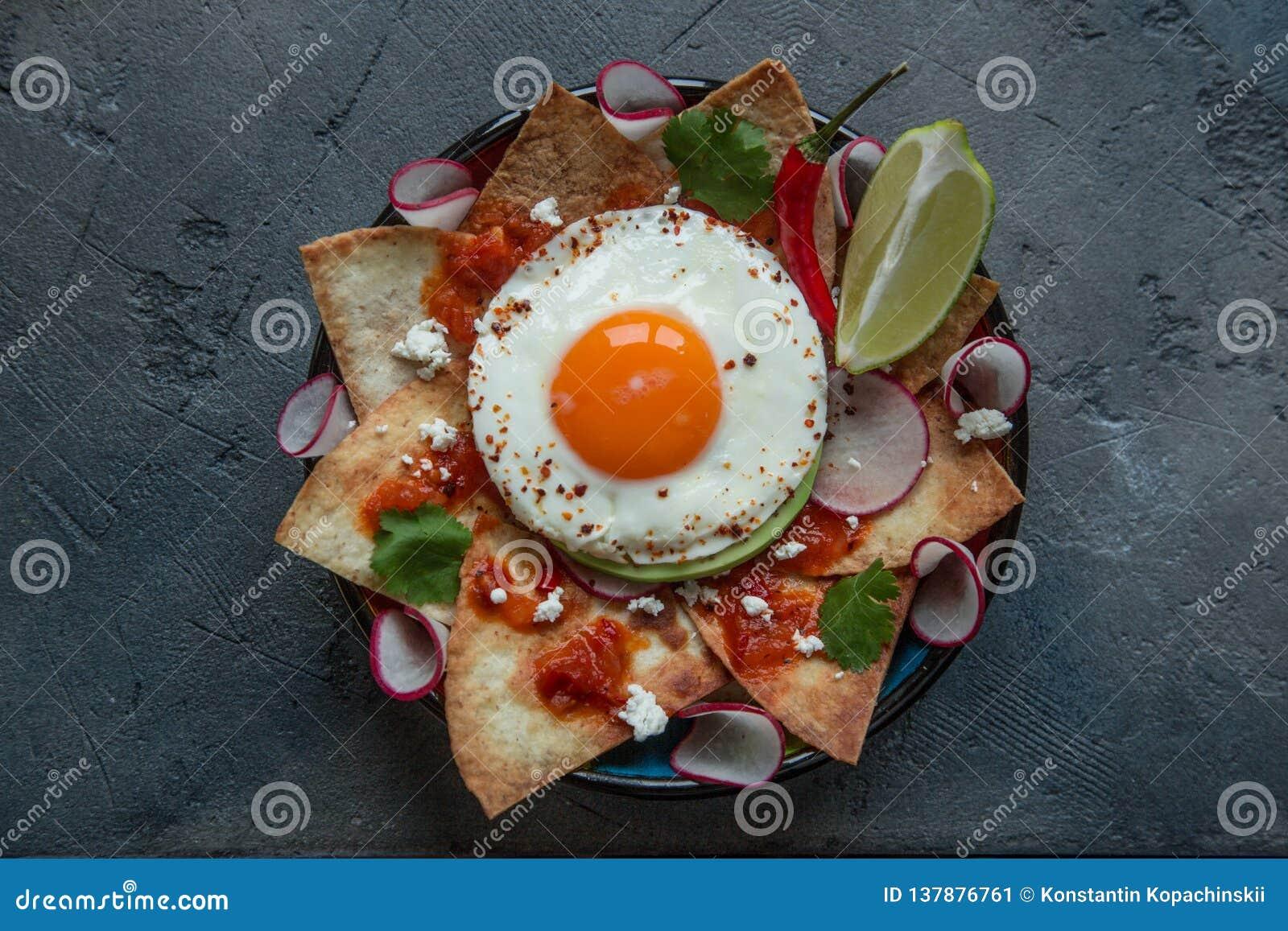 Tortilla mexicaine de Chilaquiles avec le Salsa de tomate, le poulet et le plan rapproché d oeufs d un plat vue horizontale d en