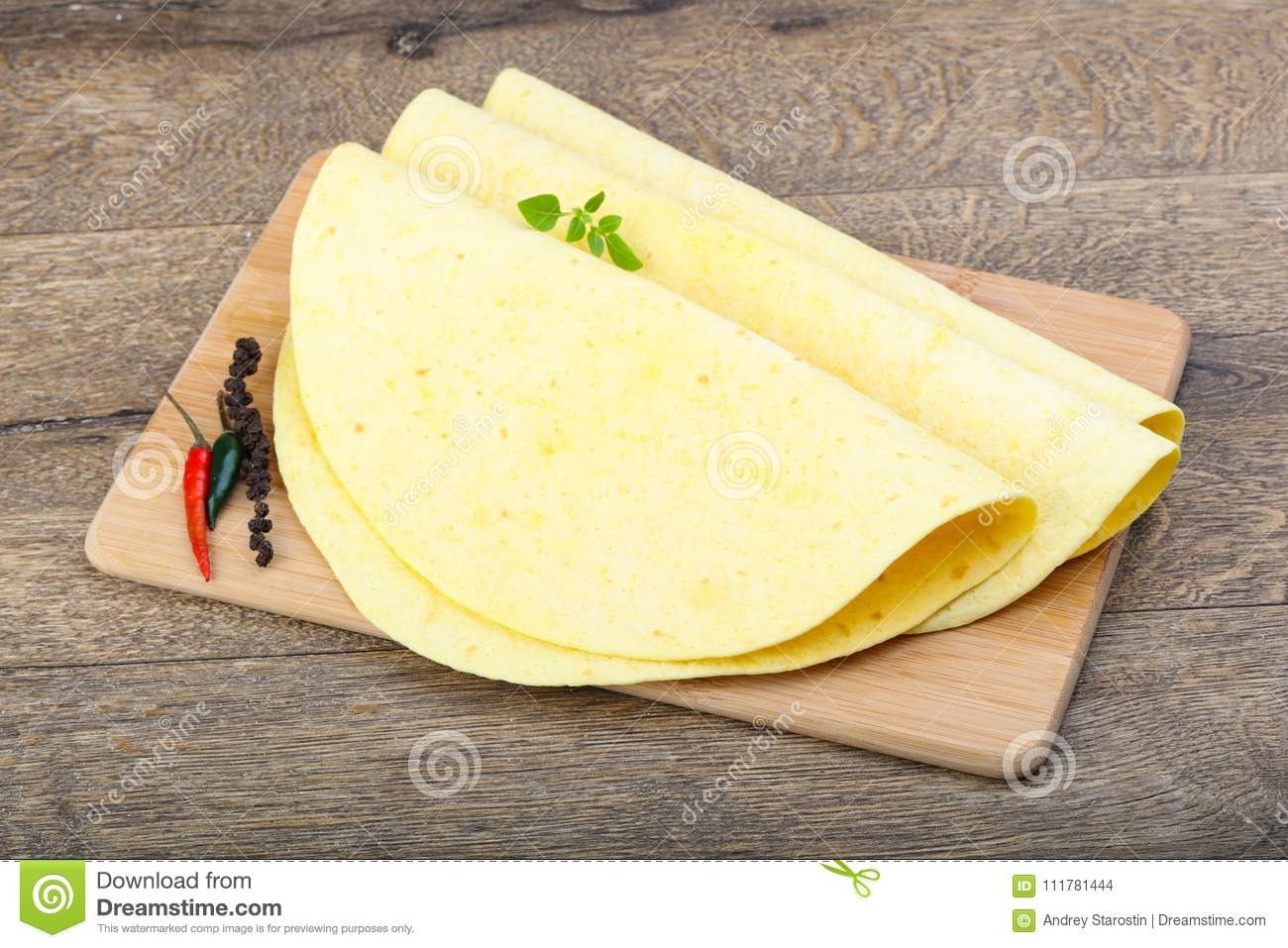 Tortilla on the wood background