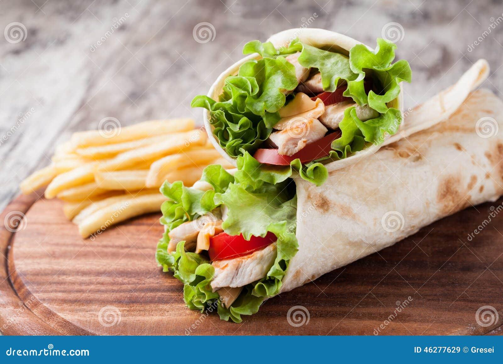 Tortilla Wrap, Fajita Stock Photo - Image: 46277629