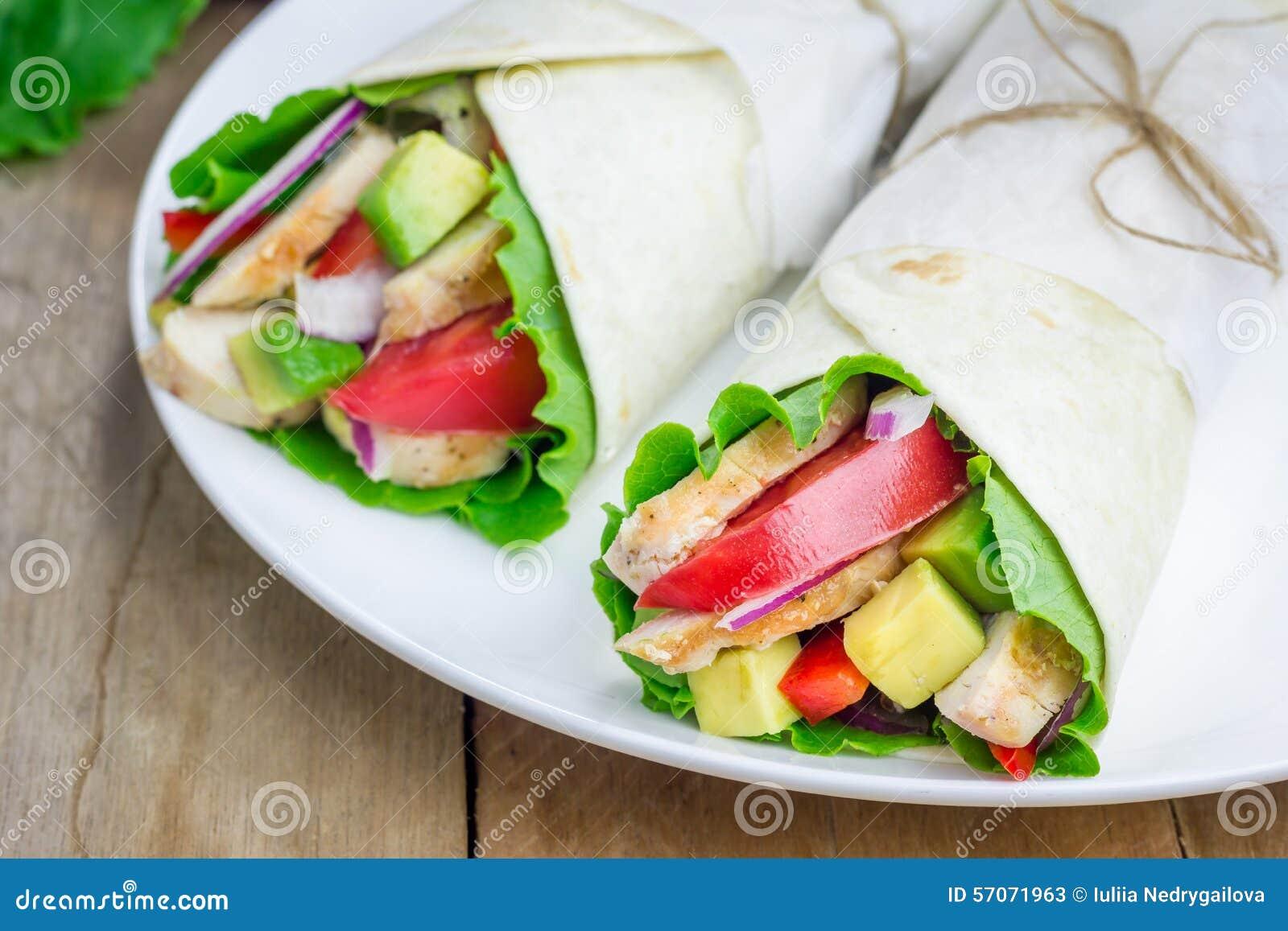 Tortillaomslagen met kippenfilet, avocado, tomaat, ui en puprika