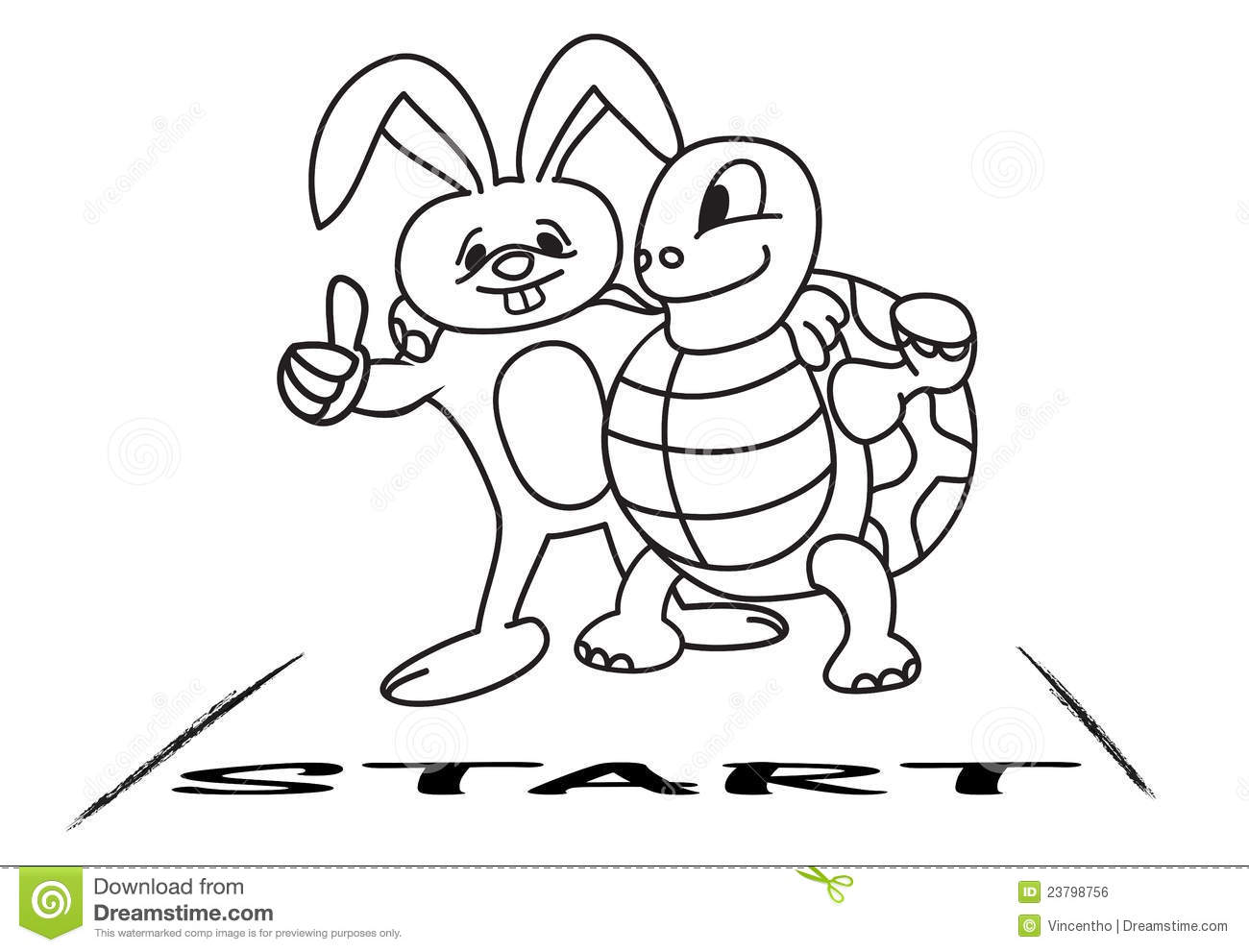 Tortoise and hare at the starting line stock vector for Tortoise and the hare coloring page