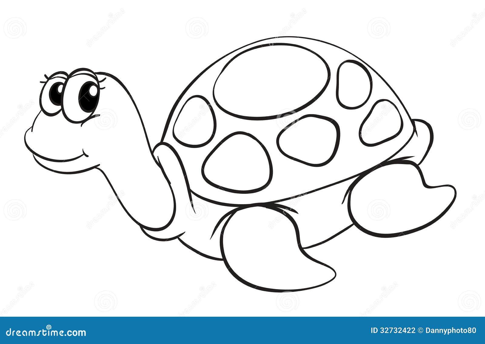 Illustration Of A Tortoise Sketch On White Background