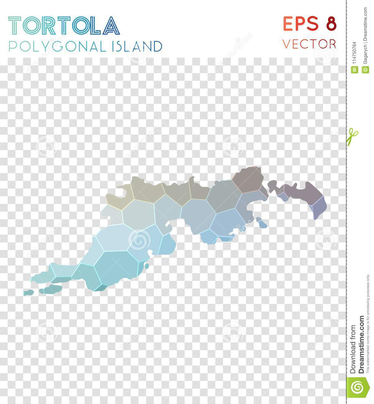 Download Tortola Polygonal Map, Mosaic Style Island. Stock Vector    Illustration Of Style,