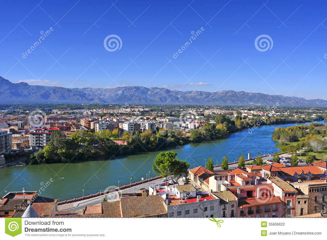 Tortosa Spain  city pictures gallery : view of Tortosa, Spain, and Ebro River, with the Ports of Tortosa ...