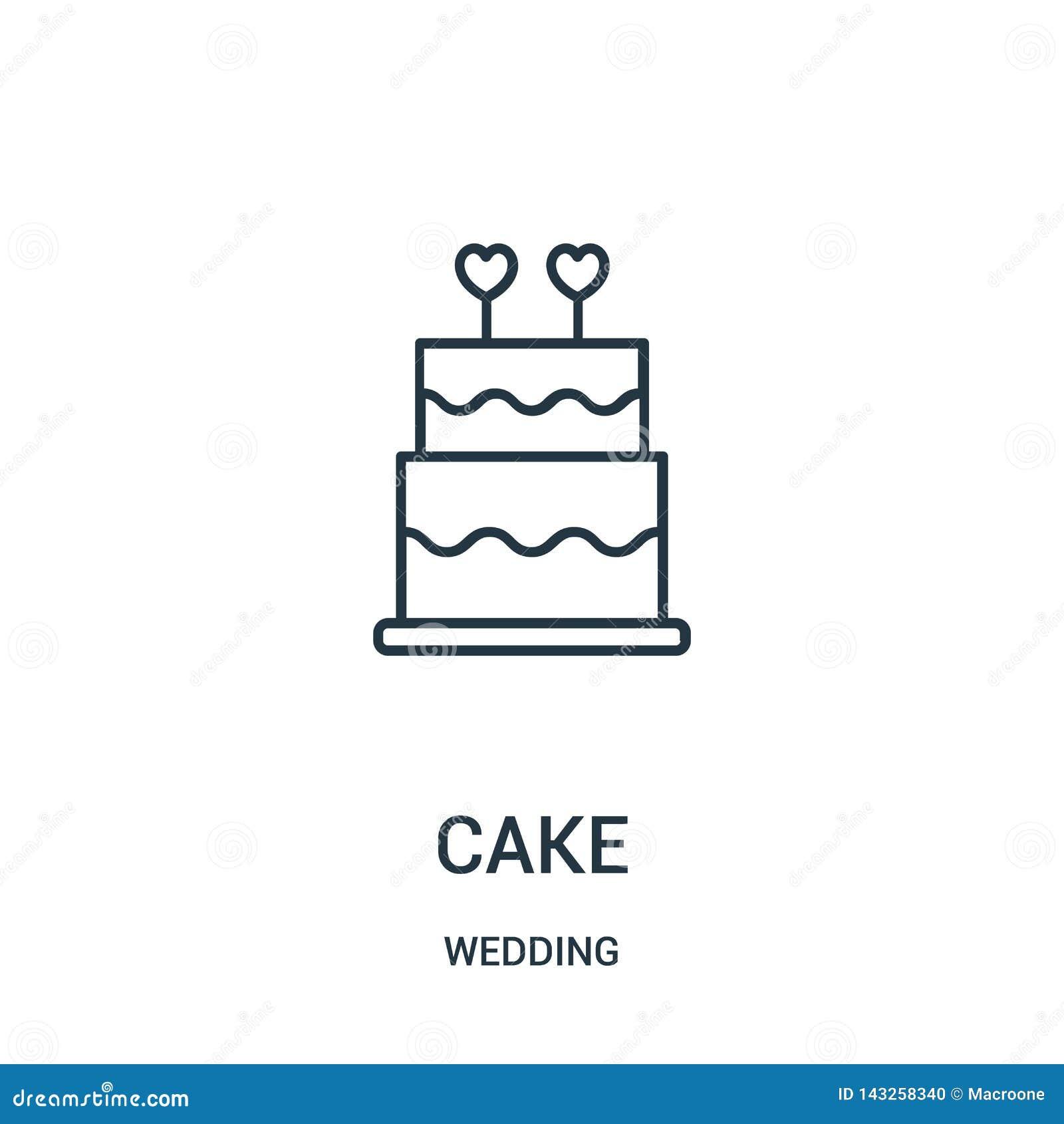 Tortowy ikona wektor od ?lubnej kolekcji Cienka linia torta konturu ikony wektoru ilustracja