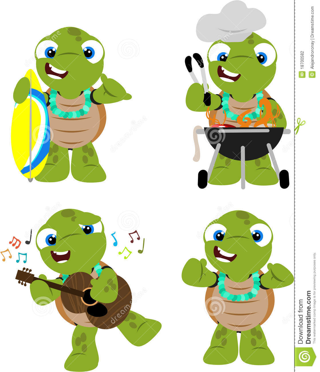 Download Tortue A Un Luau Illustration Stock Du Drole