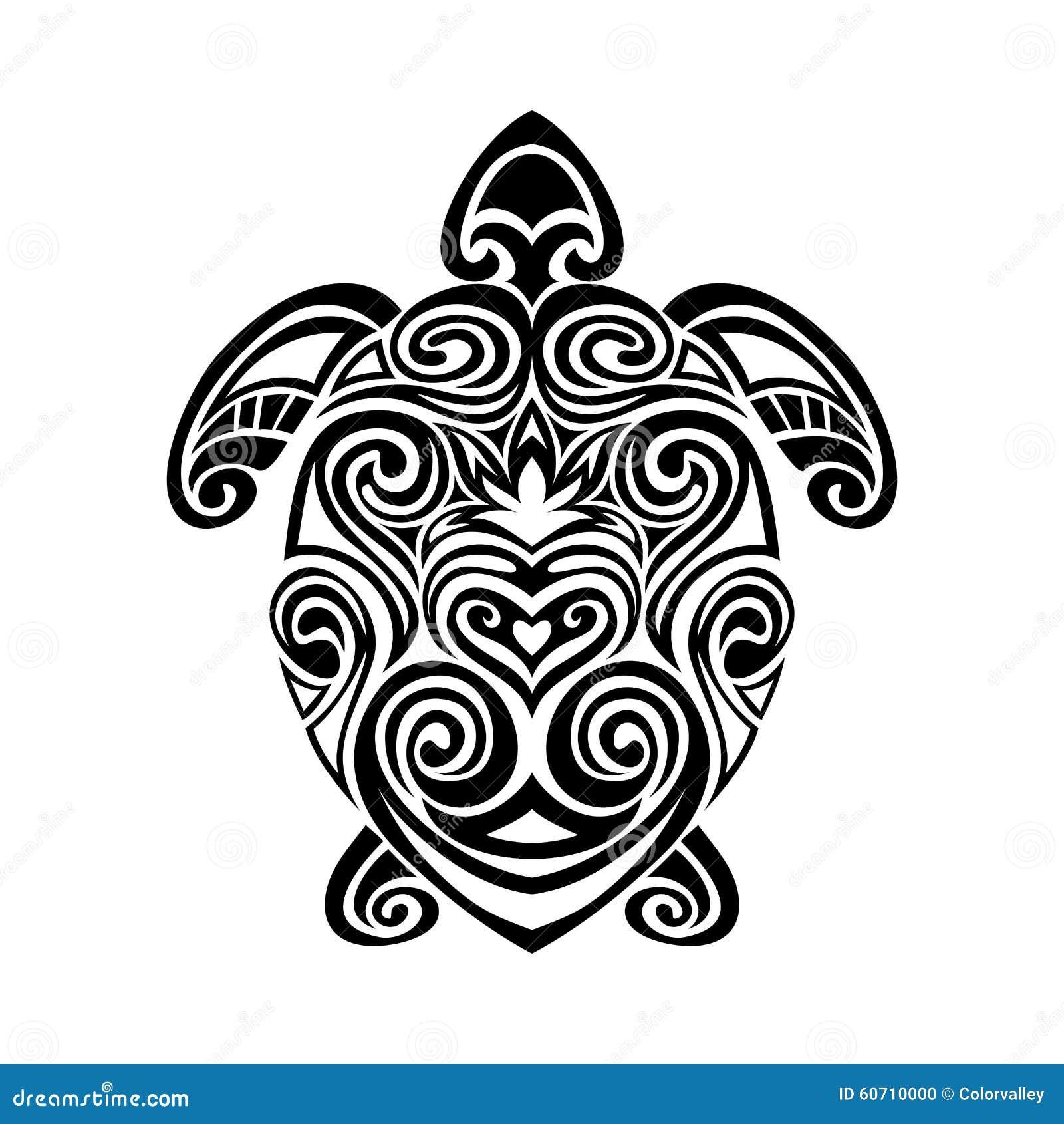 Tortue Dans Le Style Maori De Tatouage Vecteur Illustration De