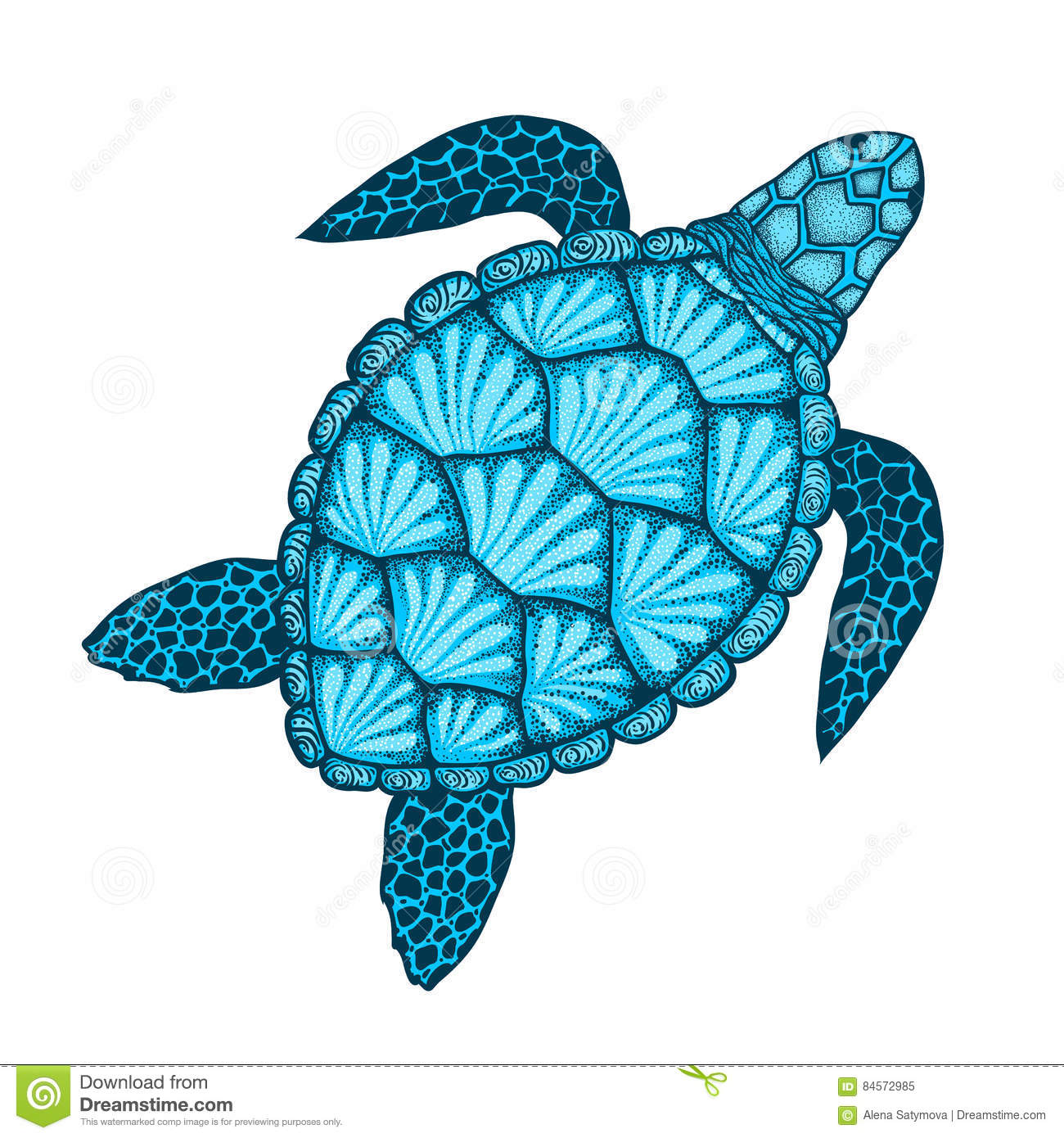 Tortue De Mer Dans Style De Schema Illustration Tiree Par La Main De