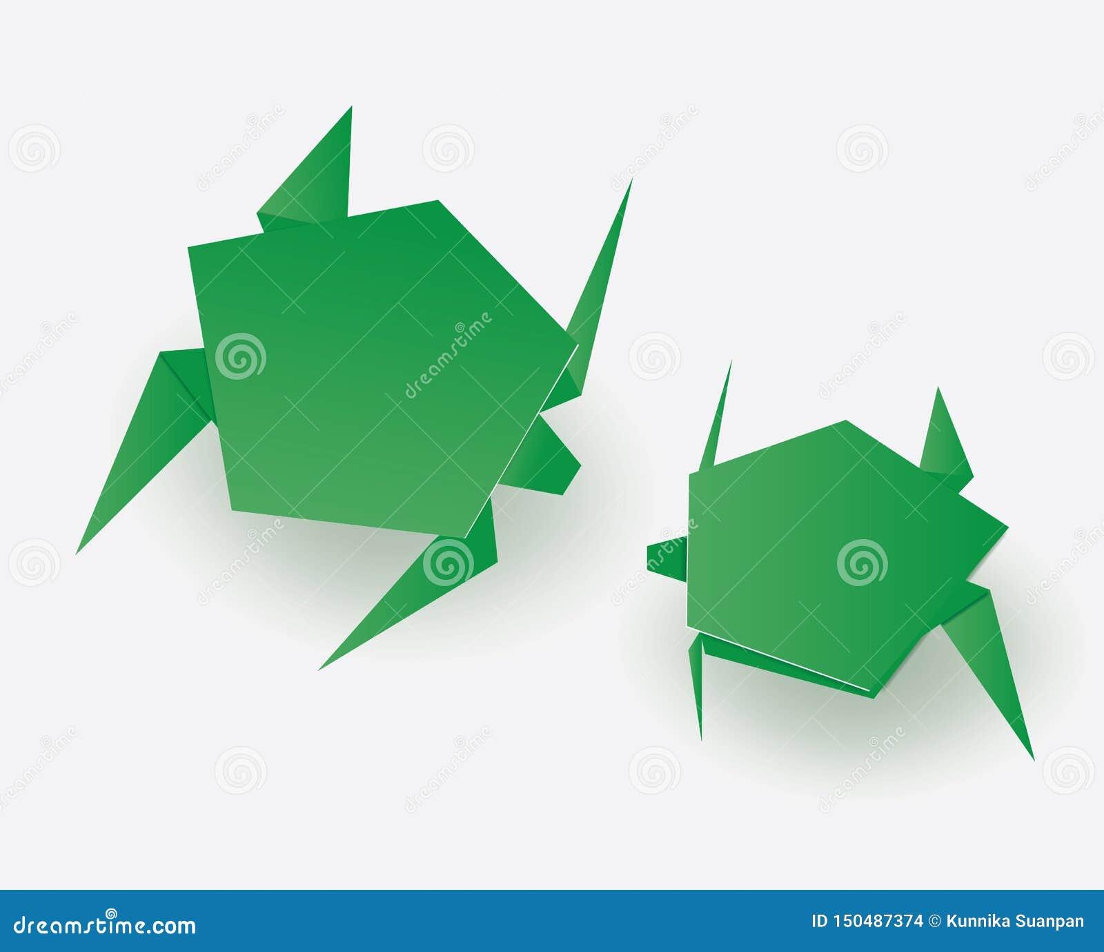 Tortues vertes d origami sur le fond blanc