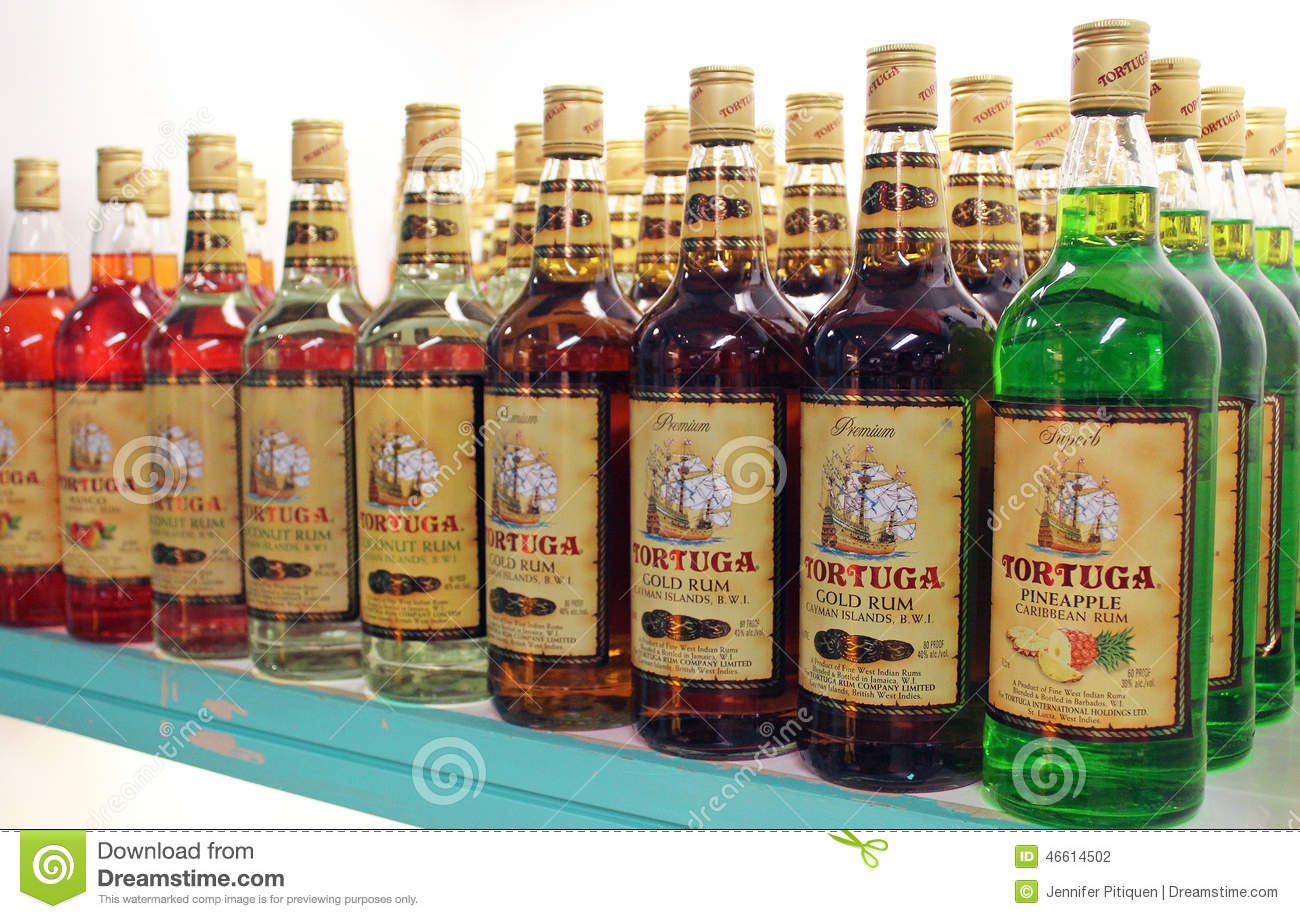 Caribbean Rum: Tortuga Rum Display Editorial Photography