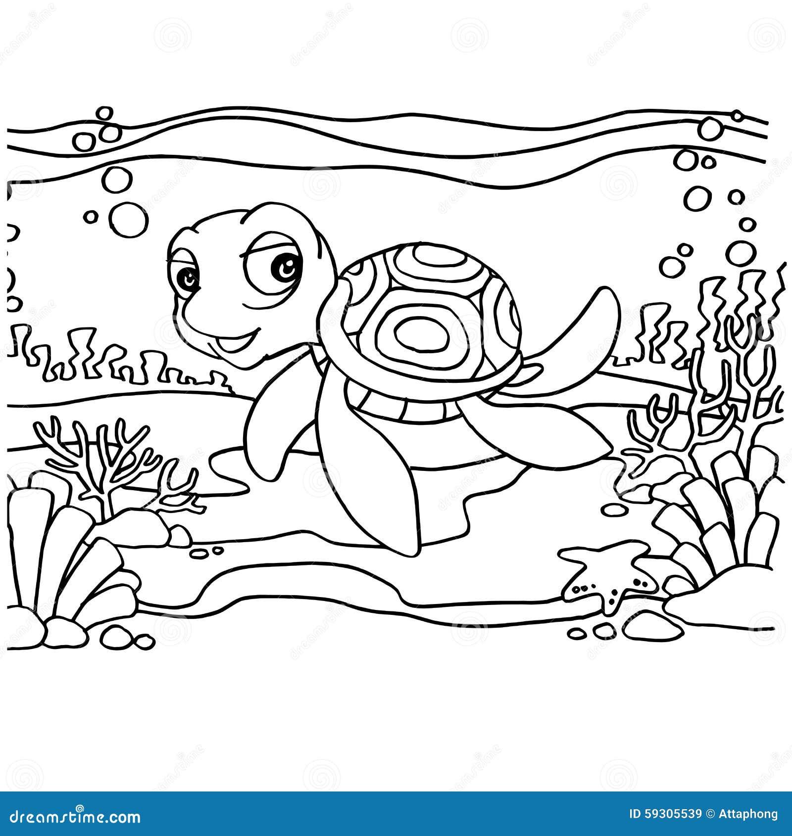 Tortugas Que Colorean Vector De Las Páginas Ilustración del Vector ...