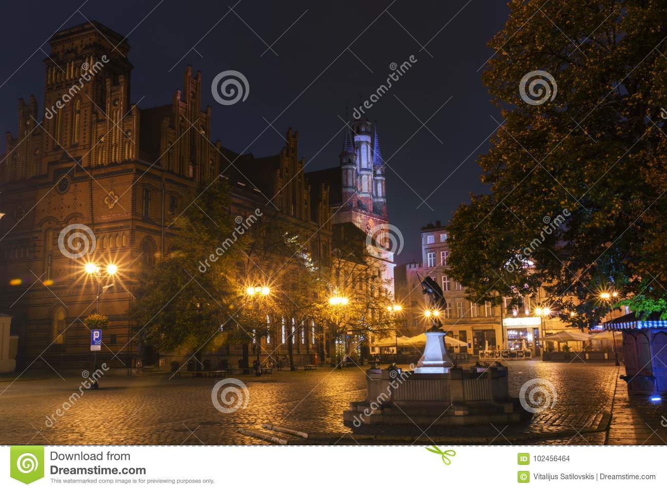 2017. 10. 20 Torun Poland, night view of Torun City street, Old town skyline with the town hall, one of largest hall in eastern Eu
