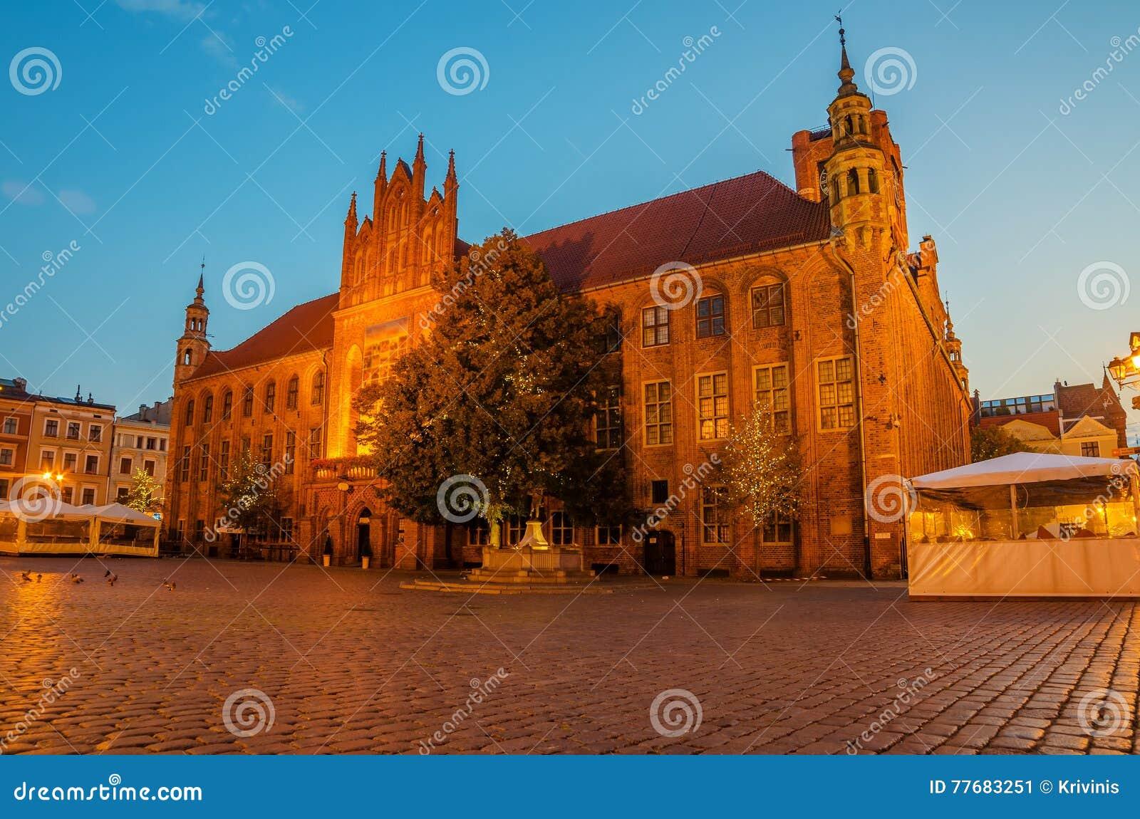 Torun, Polen: Alte Stadt, Rathaus Stockbild - Bild von