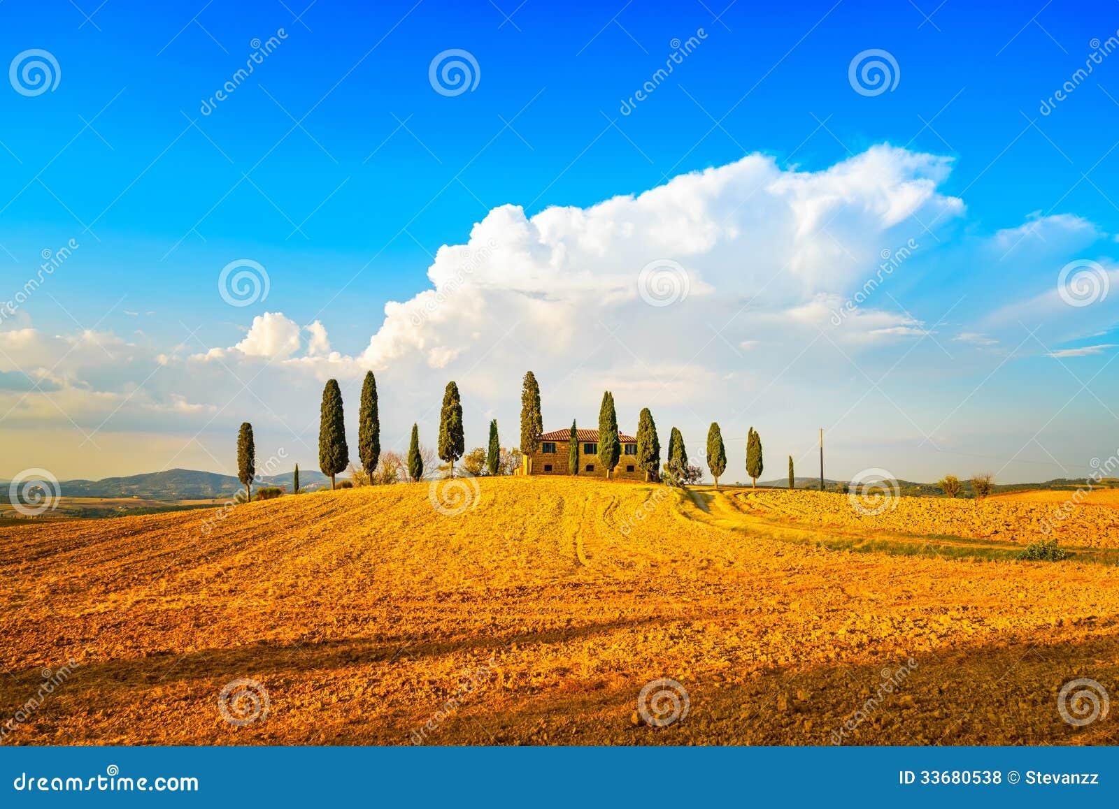 Toscanië, landbouwgrond, cipresbomen en witte weg. Siena, Val D of