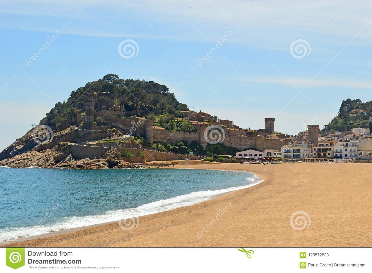 Tossa De Mar - View Across To Castle Stock Photo - Image of catalan ...