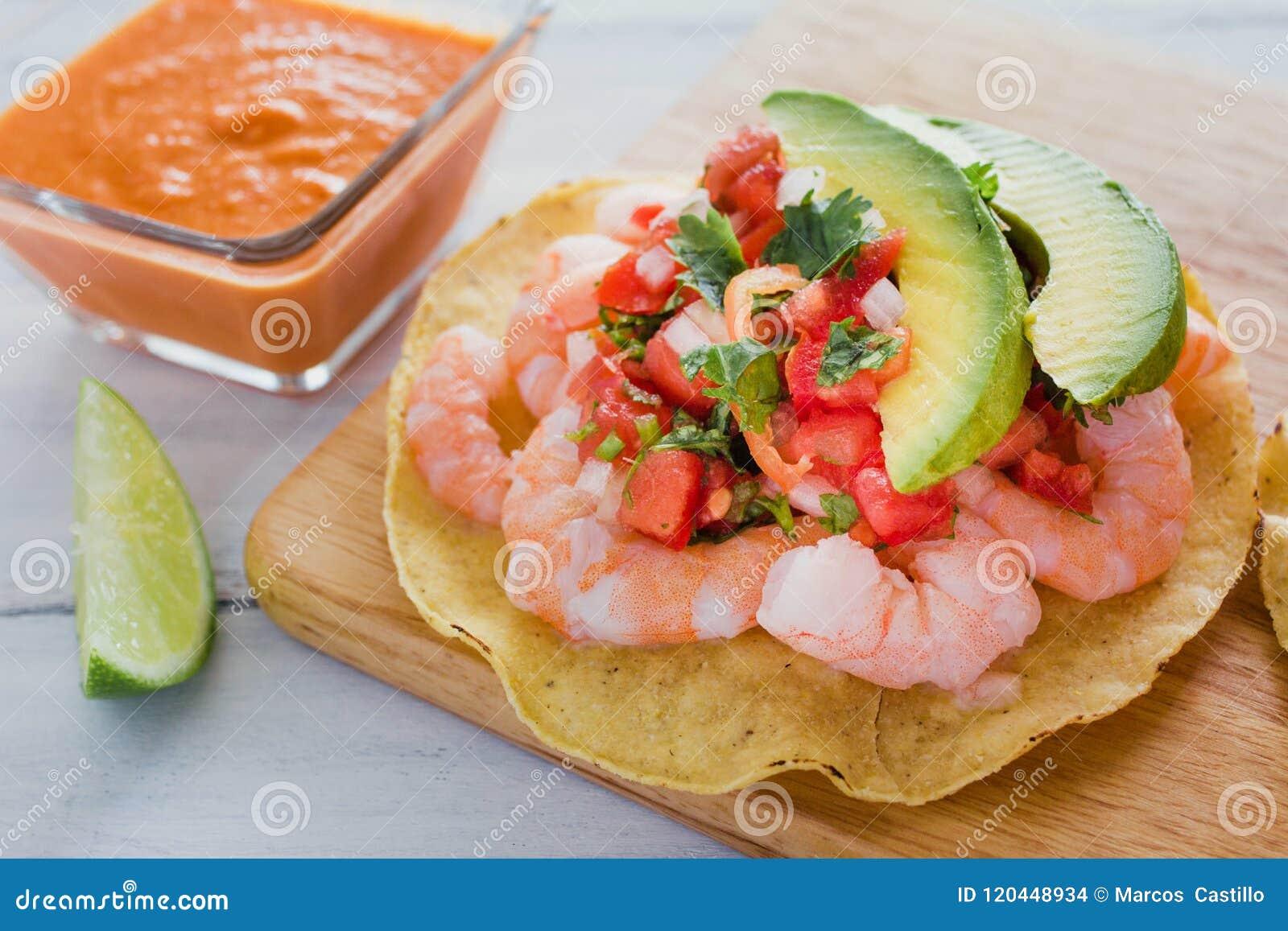 Tostadas de camaron Mexicanas, tostada dos camarões, alimento mexicano alimentos em México, mar