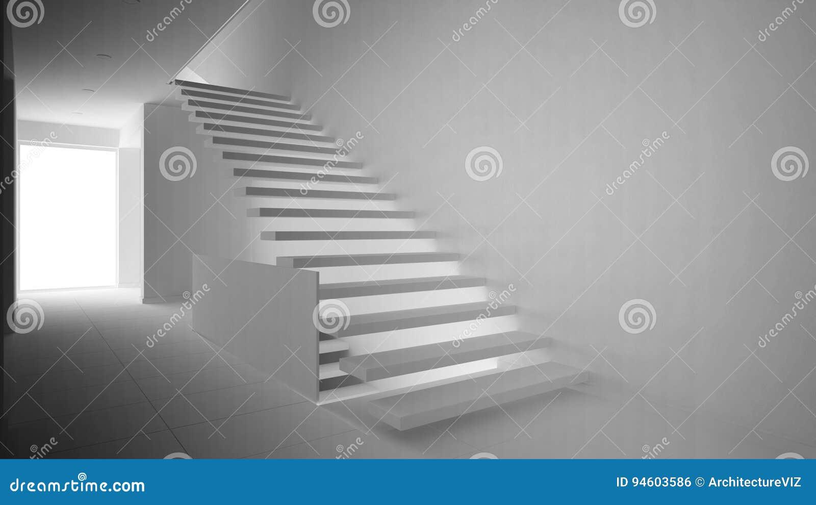 Totaal wit project van moderne hal met houten staircas stock