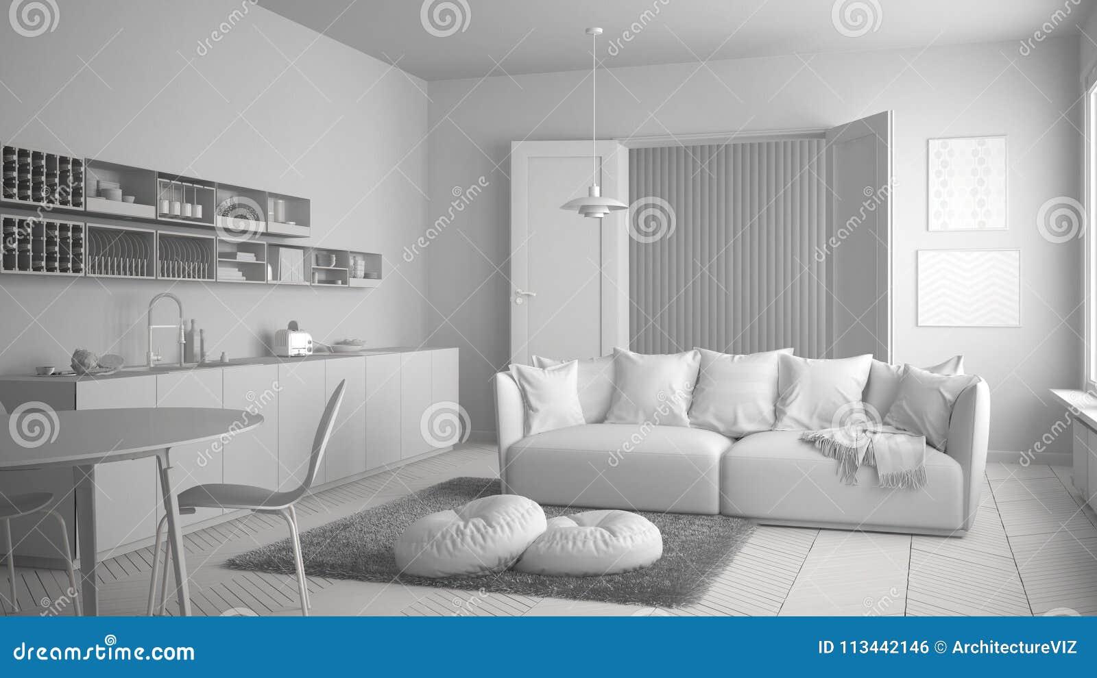 Totaal wit project van skandinavische moderne woonkamer met keuken