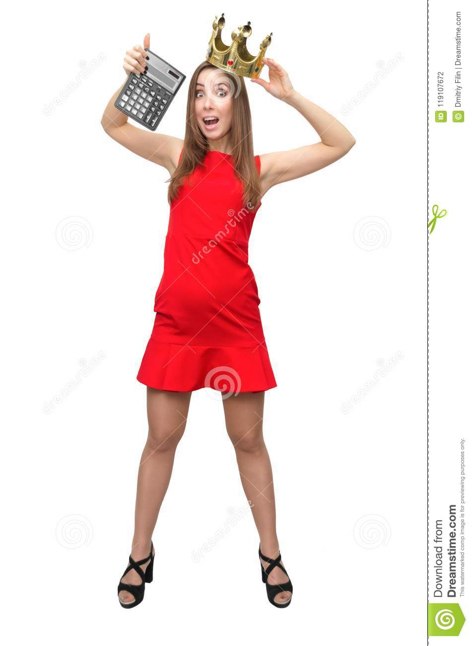woman in red dress with calculator stock photo image of holding