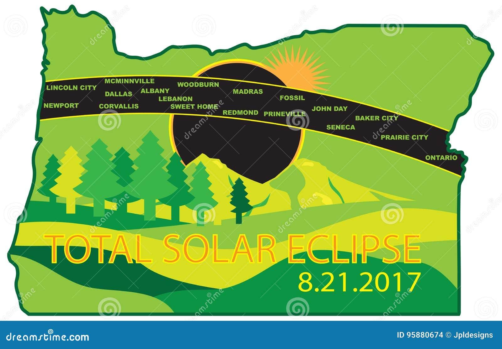 2017 Total Solar Eclipse Across Oregon Cities Map Vector
