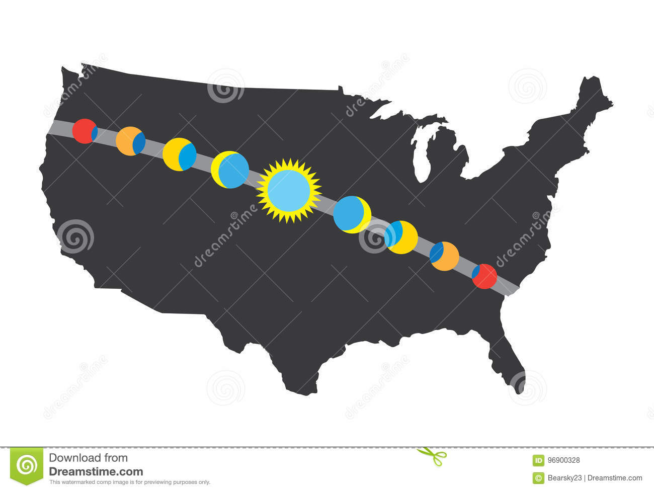 Total Solar Eclipse Icon August 21 2017 Route Map Stock Vector