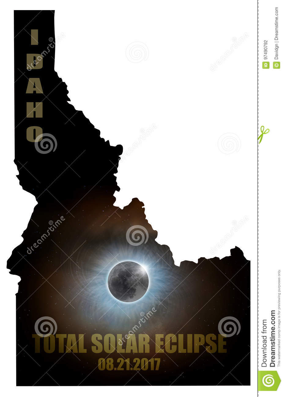 Total Solar Eclipse in Idaho Map Outline USA