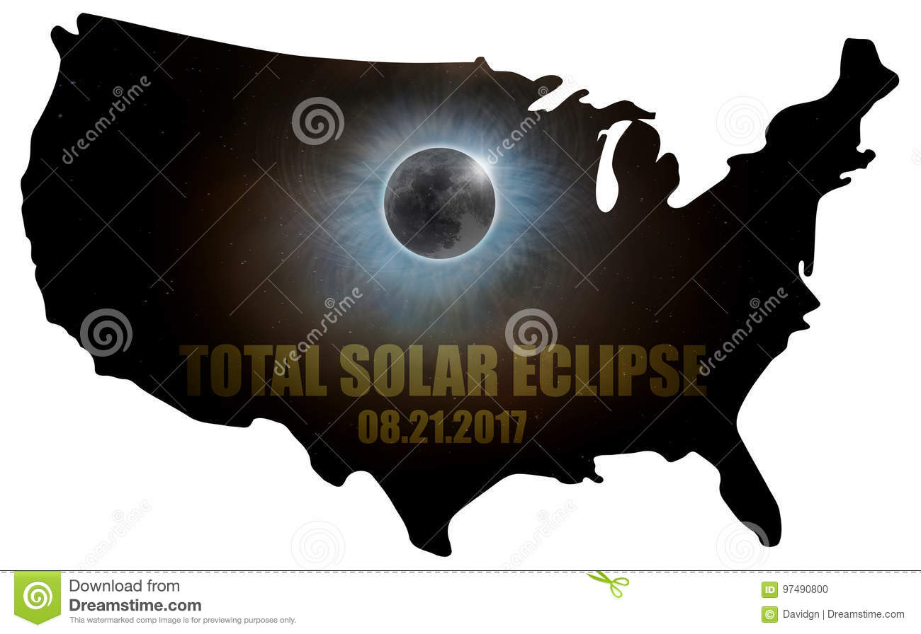 Total Solar Eclipse in United States Map Outline USA