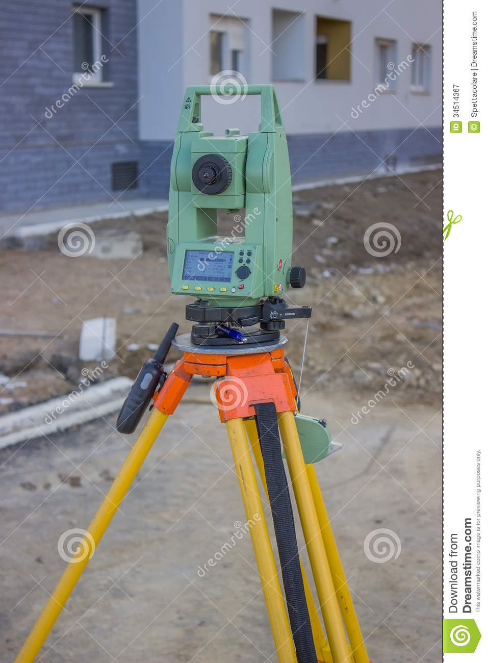 Total Station At Construction Site Land Surveying