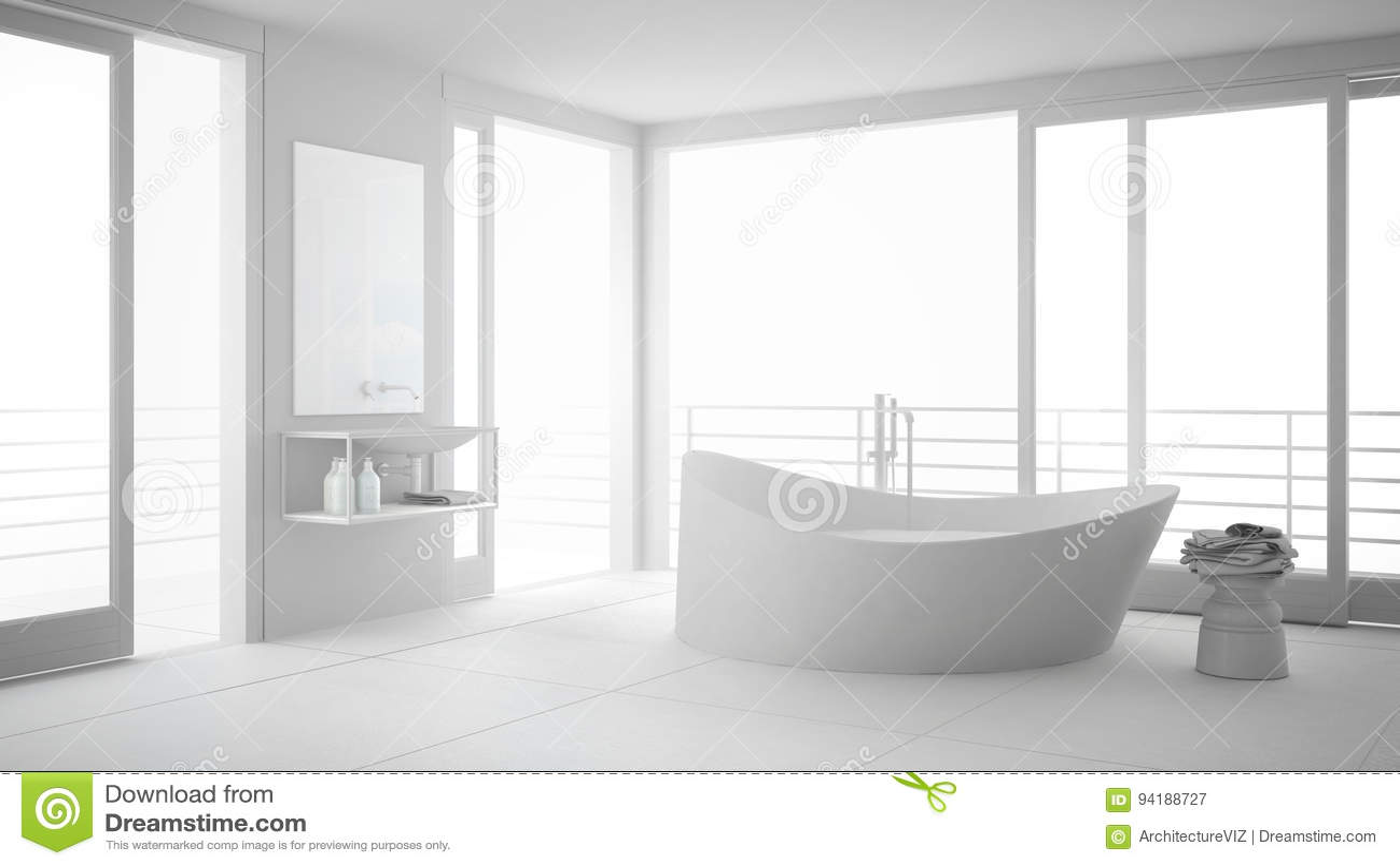 Total White Minimalist Bathroom With Big Bath Tub And Panoramic ...