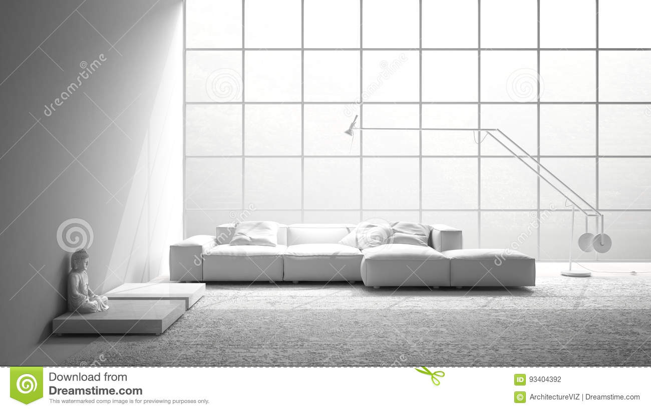 Total White Modern Living With Sofa, Carpet And Big Window, Mini ...