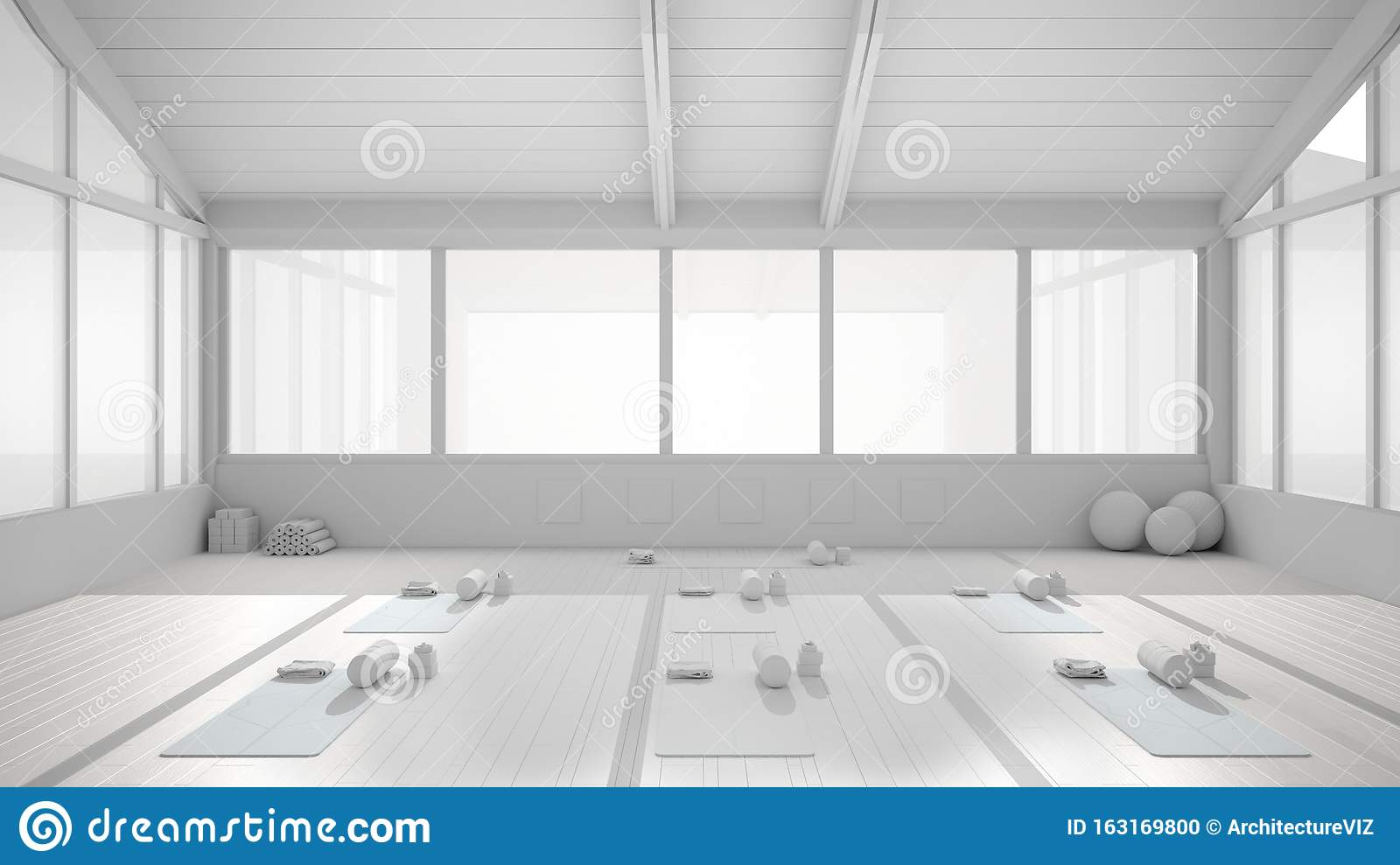 Total White Project Draft Of Empty Yoga Studio Interior Design Architecture Minimal Open Space Spatial Organization With Mats Stock Illustration Illustration Of Empty Tranquil 163169800