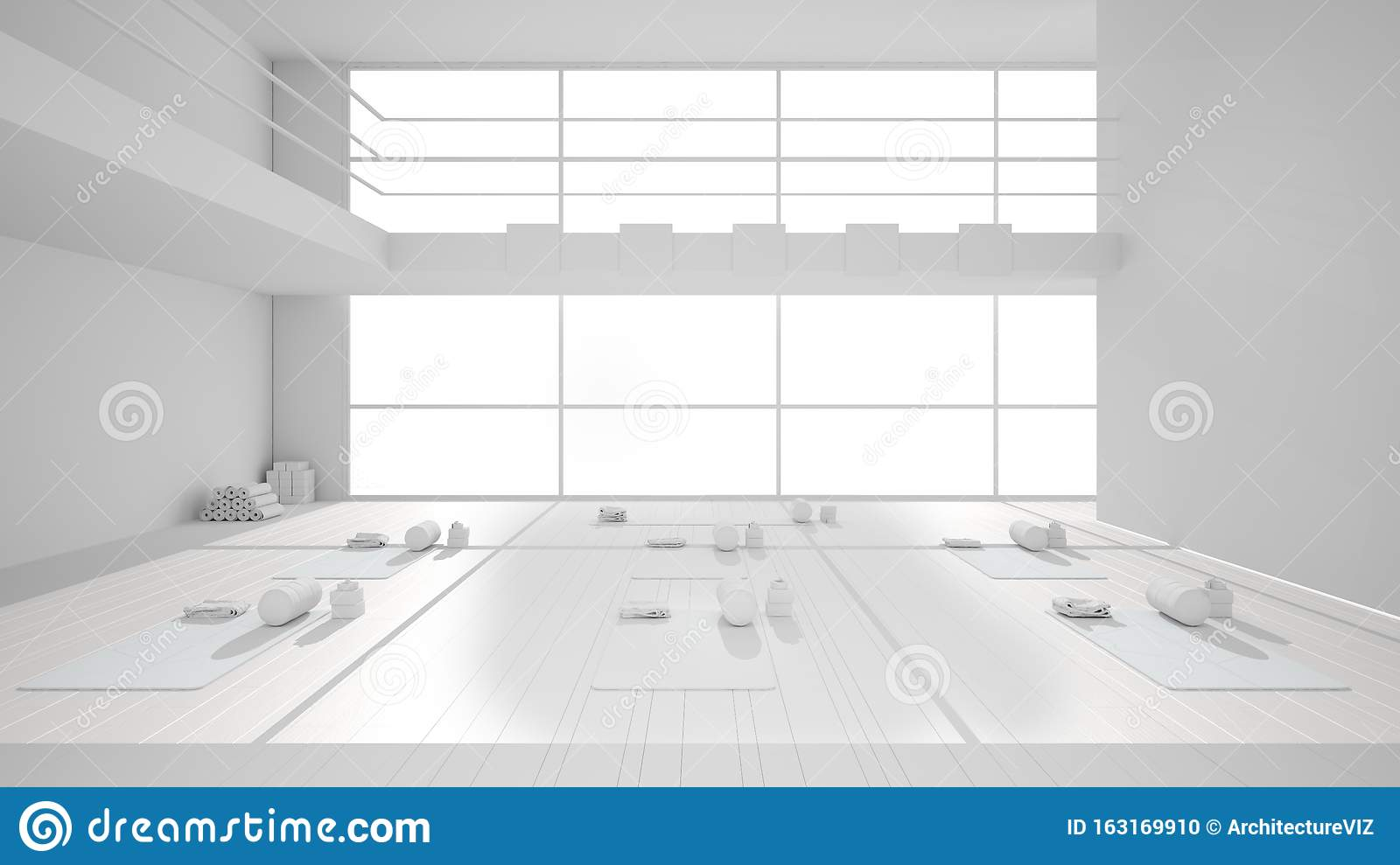 Total White Project Of Empty Yoga Studio Interior Design Architecture Minimal Open Space Spatial Organization With Mats And Stock Illustration Illustration Of Relaxation Fitness 163169910