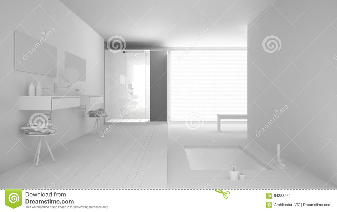 Total White Project Of Minimalist Bathroom With Bath Stock Photo ...