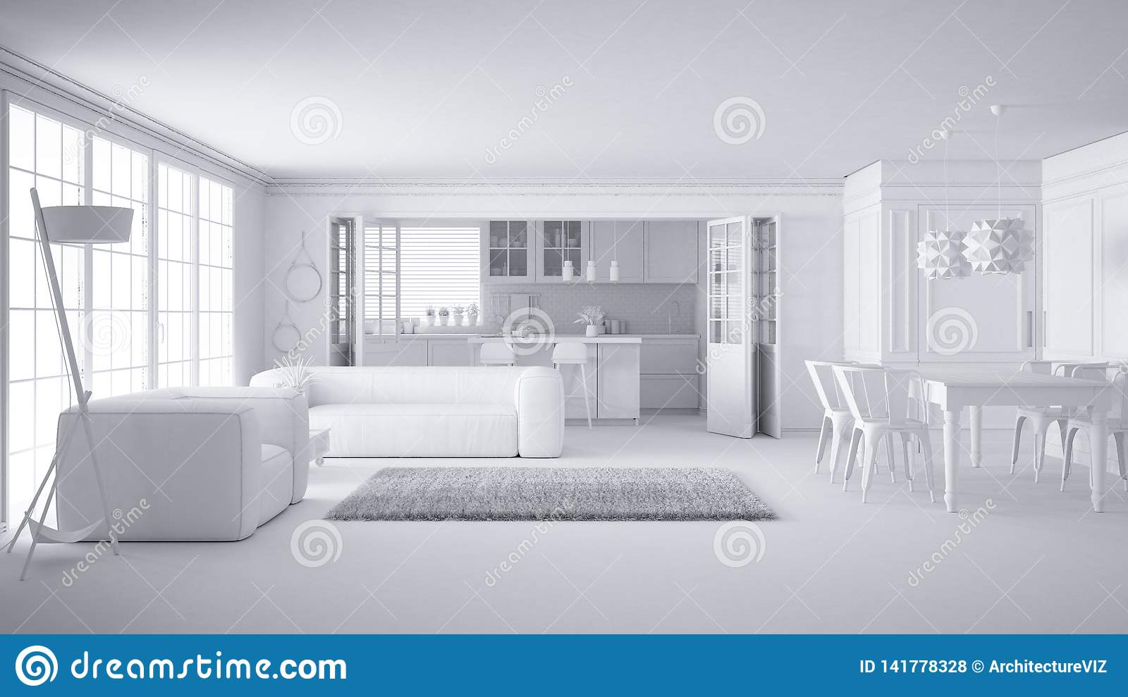 Total White Project Of Minimalist White Living Room And