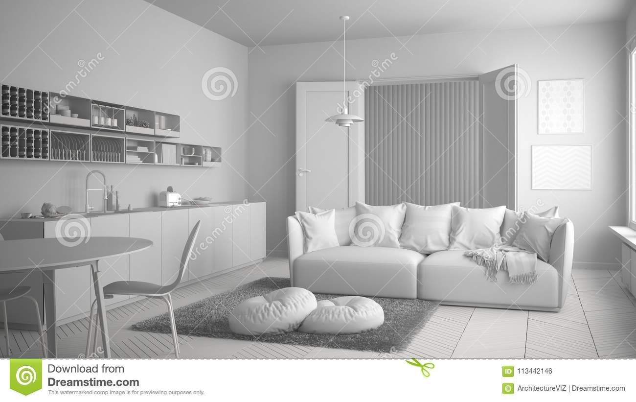 Total White Project Of Scandinavian Modern Living Room With Kitchen ...