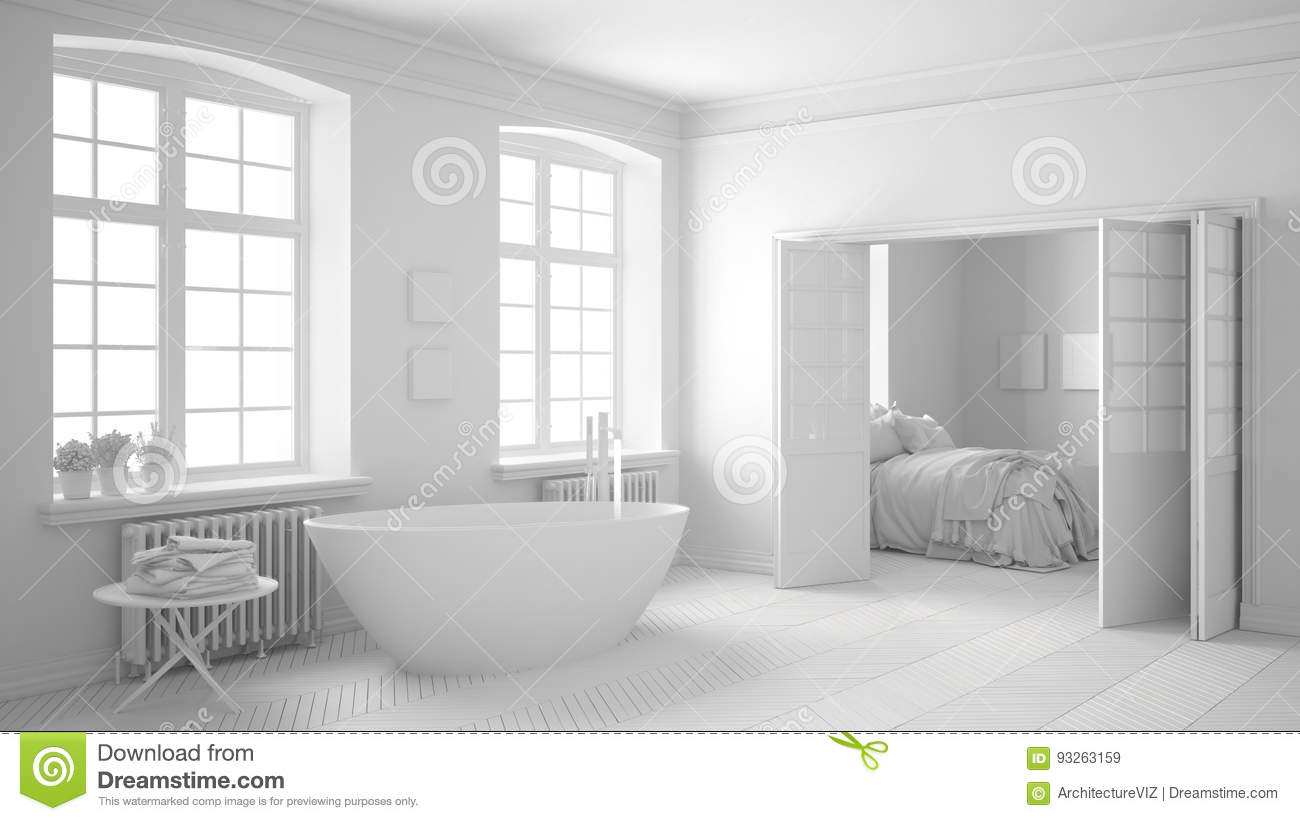 Total White Scandinavian Bathroom With Bedroom In The Background ...