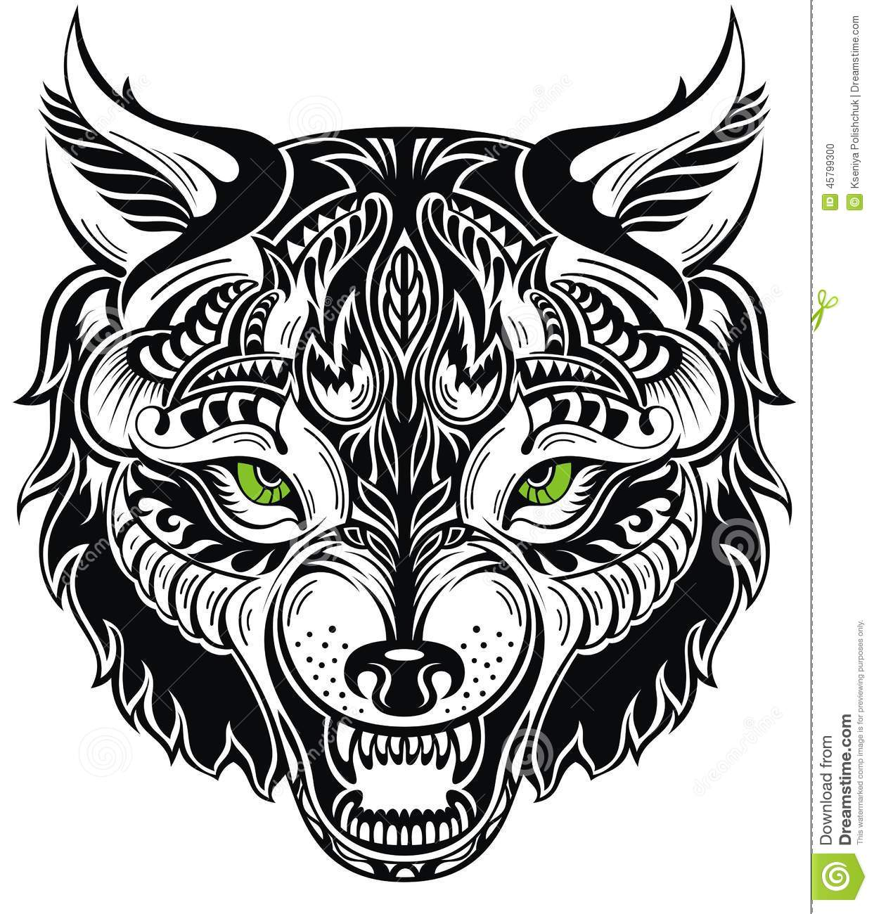 Totem animal wolf tattoo stock vector illustration of for Black and white tattoo artists