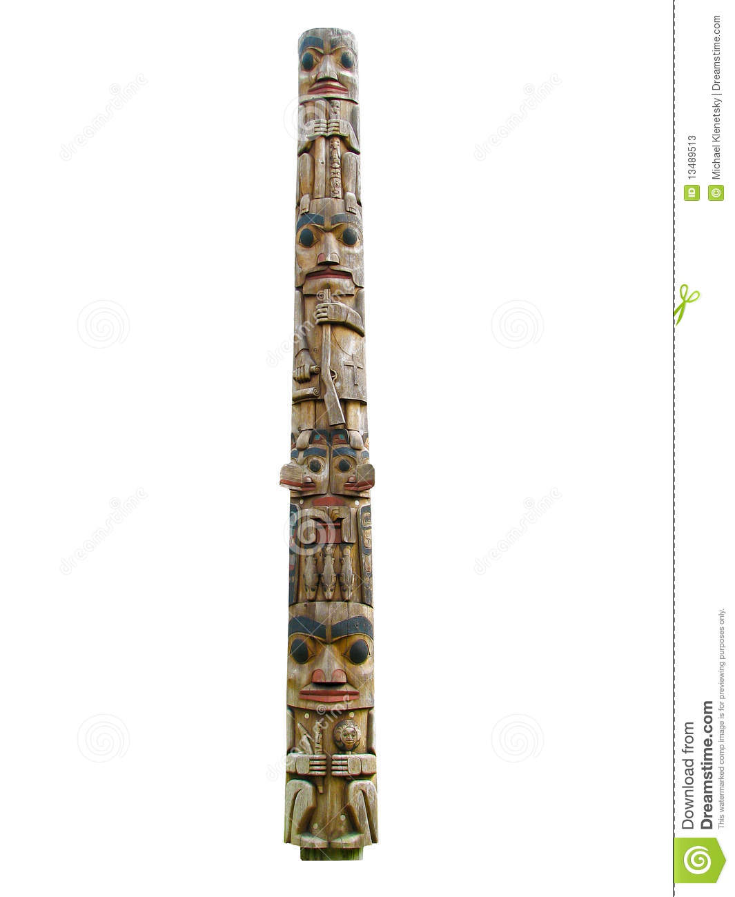 totem pole isolated on a white background.
