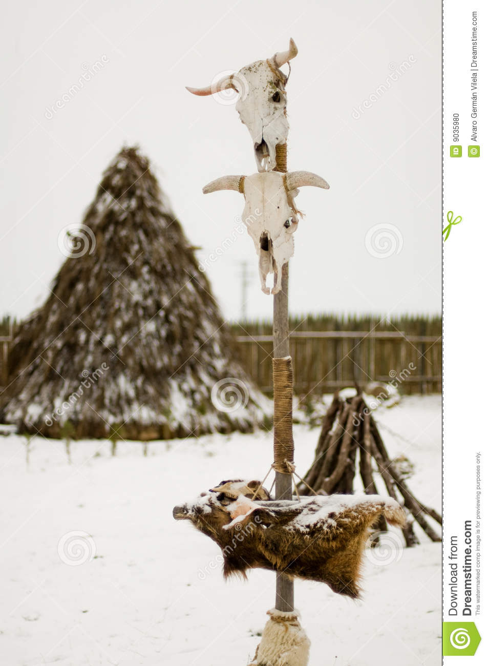 Totem in a Teepee village
