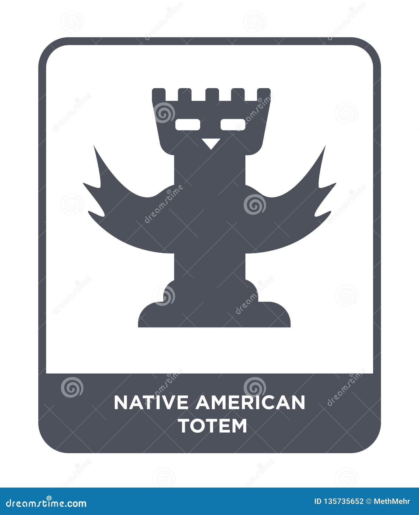 Totemikone des amerikanischen Ureinwohners in der modischen Entwurfsart Totemikone des amerikanischen Ureinwohners lokalisiert au