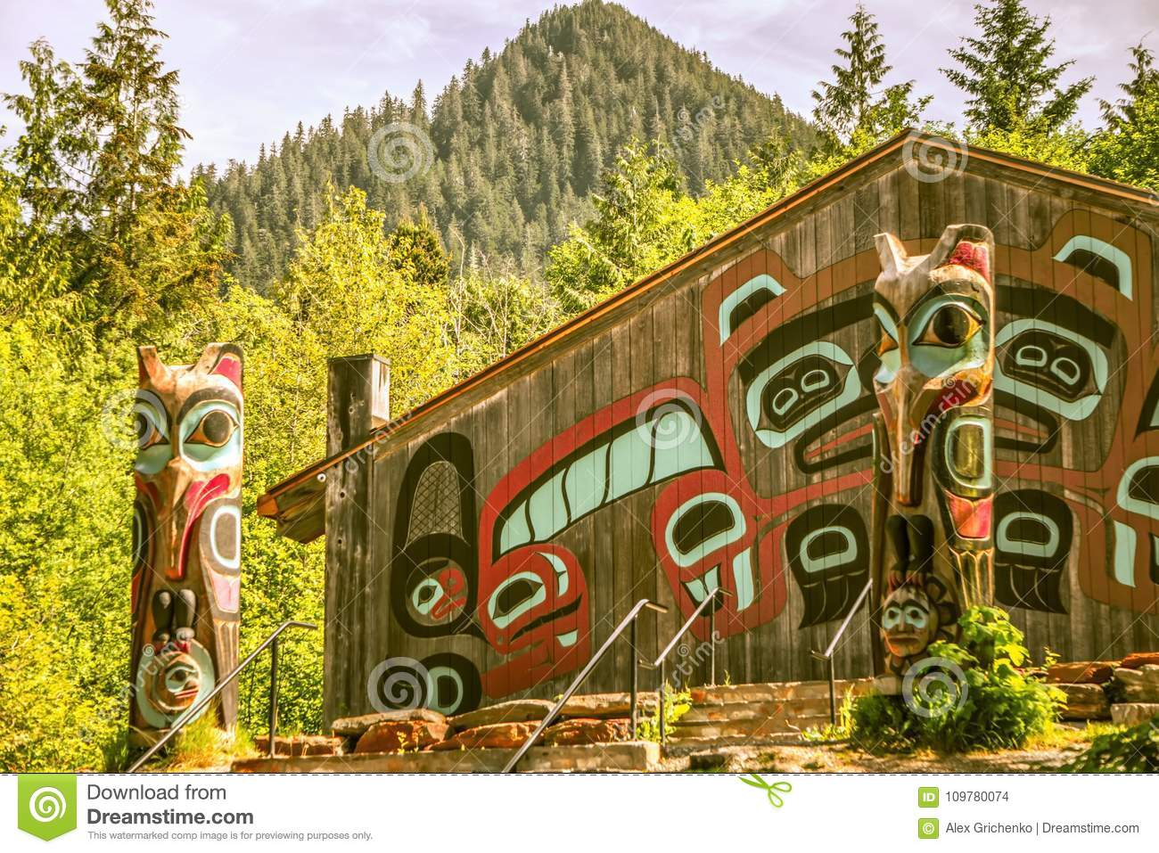 Totems art and carvings at saxman village in ketchikan alaska