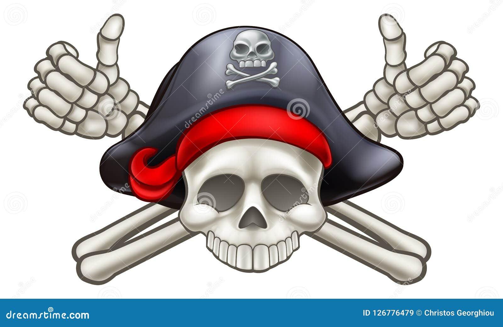 Totenkopf mit gekreuzter Knochen-Pirat