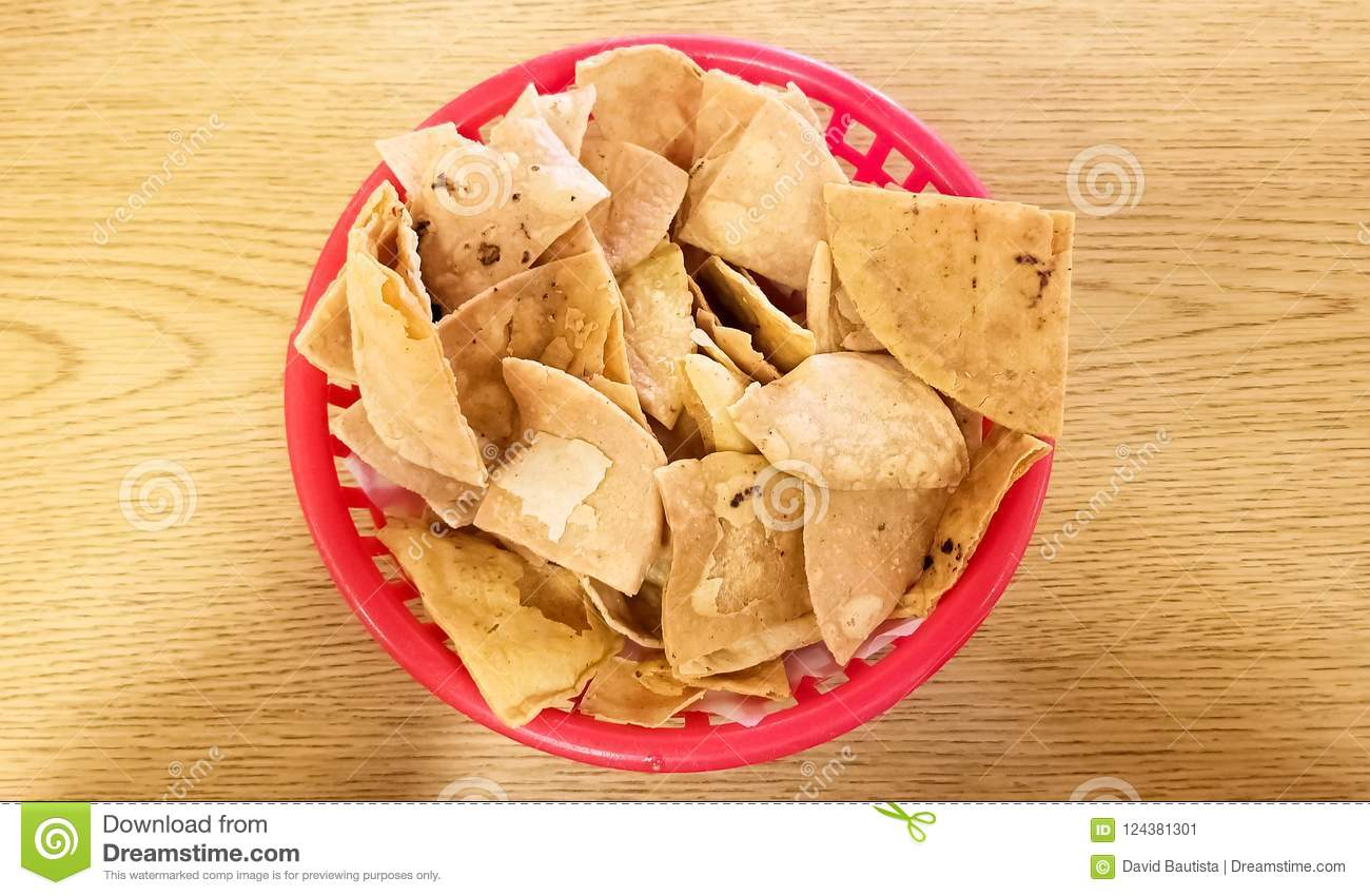 Close-up of totopos, hard tortilla or tortilla chips, traditional Mexican food
